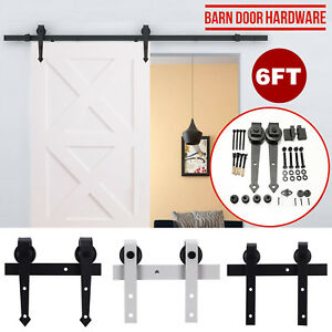 6FT-Modern-Sliding-Barn-Door-Hardware-Track-Kit-Antique-Door-Hardware-Roller-Set