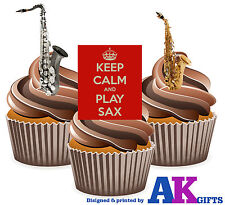 Keep Calm And Play Sax Saxophone Mix 12 Edible Stand Up Cup Cake Toppers