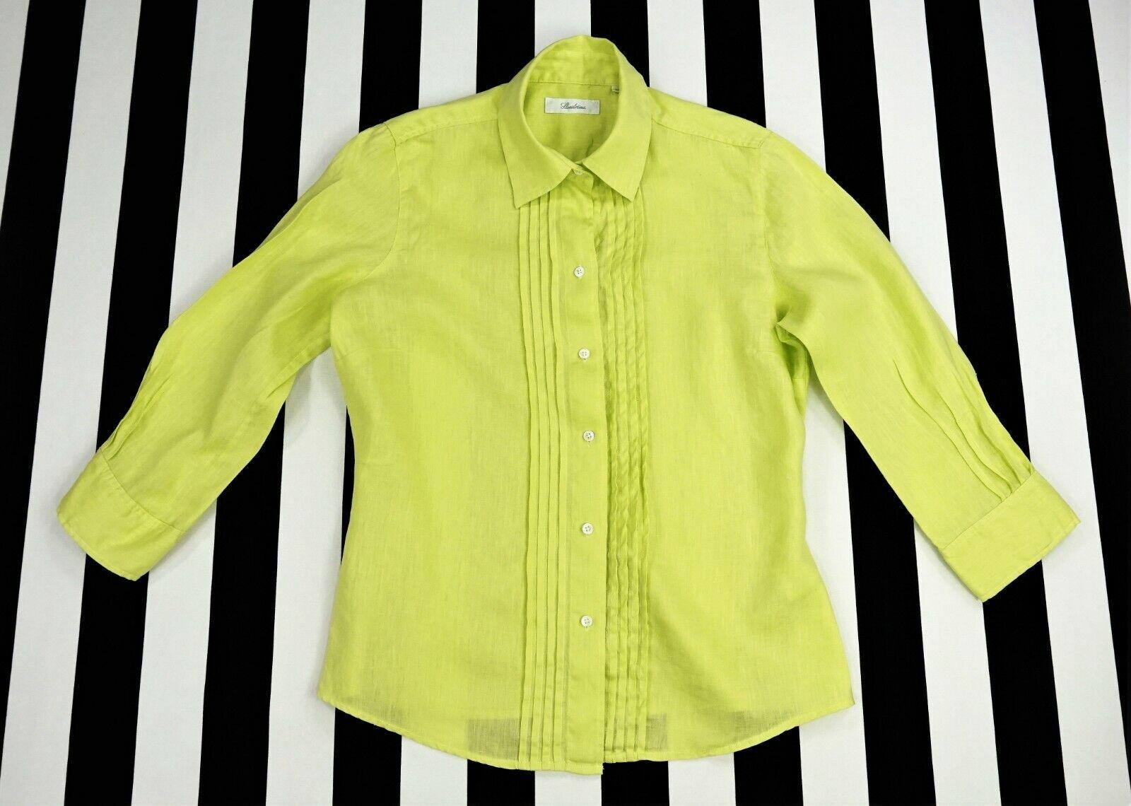 Nwt  STENSTRÖMS Stenstroms ¾ Sleeve Citrus Grün 100% Linen Ladies Shirt Größe 38