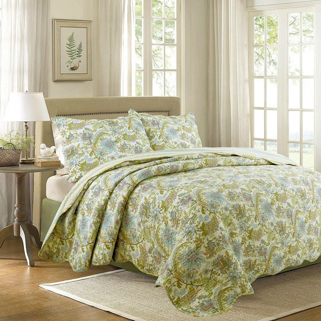 Bahama Plantation Floral 100%Cotton Queen-Größe Quilt Set, Bedspread, Coverlet