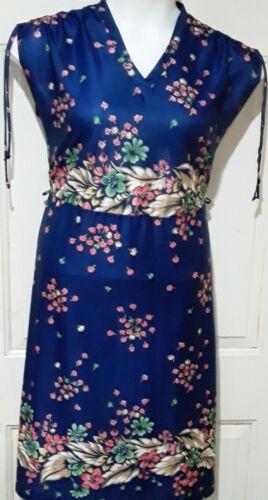 Vintage Ms. Claire Blue Floral House Dress, Size … - image 1