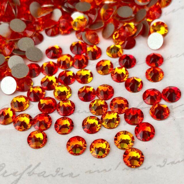 Swarovski Crystals Glue on 100 x SS20 Fire Opal Red Orange diamantes rhinestones