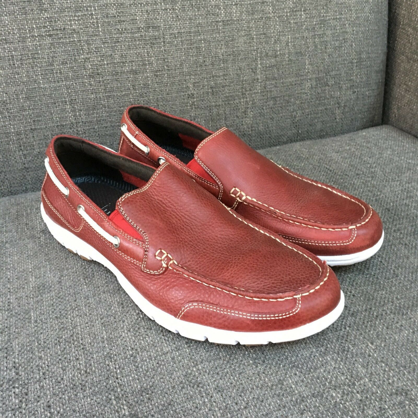 Cole Haan Red Venetian Boat shoes Loafer Men White Sole Preppy C10253 8.5