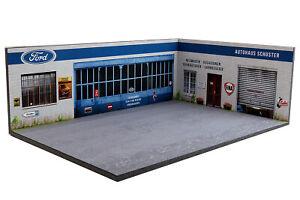 Diorama-Garage-FORD-Deutschland-Autohaus-Schuster-1-43eme-43-3-D-H-R-014