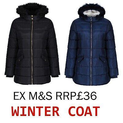 Ex M*S Girls Padded Coat Jacket With Stormwear Age 5-14 Years