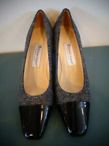 51231a3d2a Image is loading ETIENNE-AIGNER-BLACK-TWEED-PATENT-LEATHER-TOE-CAP-