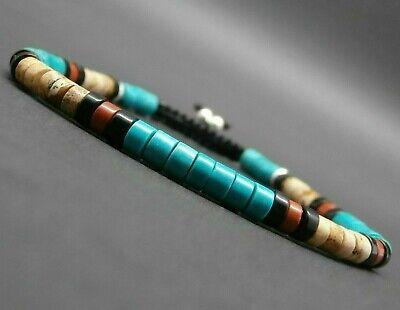 Bracelet fin tressé gemmes heishi jaspe turquoise africaine onyx argent 925