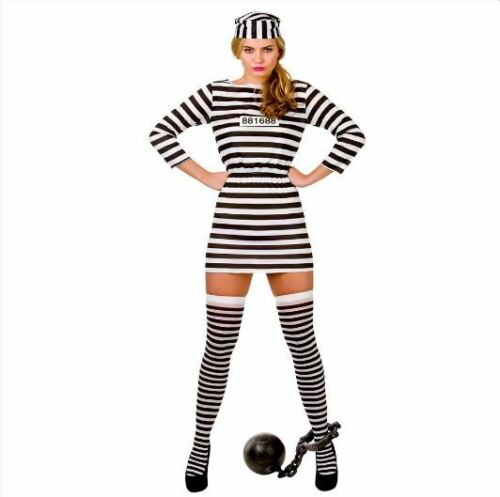 Jail Prisoner Inmate Ladies Halloween Fancy Dress Costume NEW Jailbird Cutie