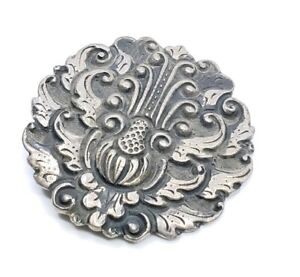 Fine-Antique-Art-Nouveau-Sterling-Silver-Brooch-pin-Ornate-Wings