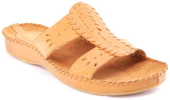 New HUSH PUPPIES Women Leather Tan Flat Open Toe Slip On Slide Sandal shoes Sz 9