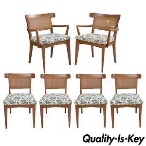 Peachy Details About 6 Vtg Mid Century Modern Walnut Curved Cane Back Dining Chairs Tomlinson Style Ncnpc Chair Design For Home Ncnpcorg