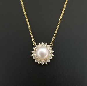 14k-Yellow-Gold-White-Freshwater-Pearl-Pendant-Necklace