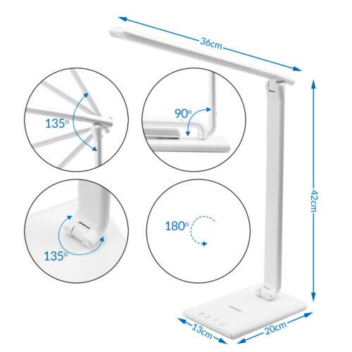 Lampe de bureau LED pivotable 5 niveaux de luminosité Port USB Contrôle tactile