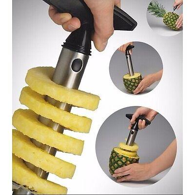 Easy Gadget Kitchen Fruit Pineapple Corer Slicer Cutter Peeler Stainless Steel
