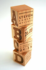 Personalised Wooden Blocks Birthday Christening Dedication Baptism Gift Present