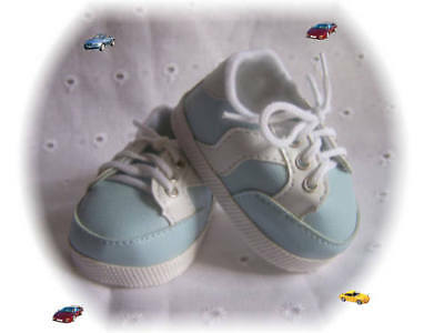 Reborn Baby Shoes Saddle Oxfords 89 MM White and Navy ~ REBORN DOLL SUPPLIES