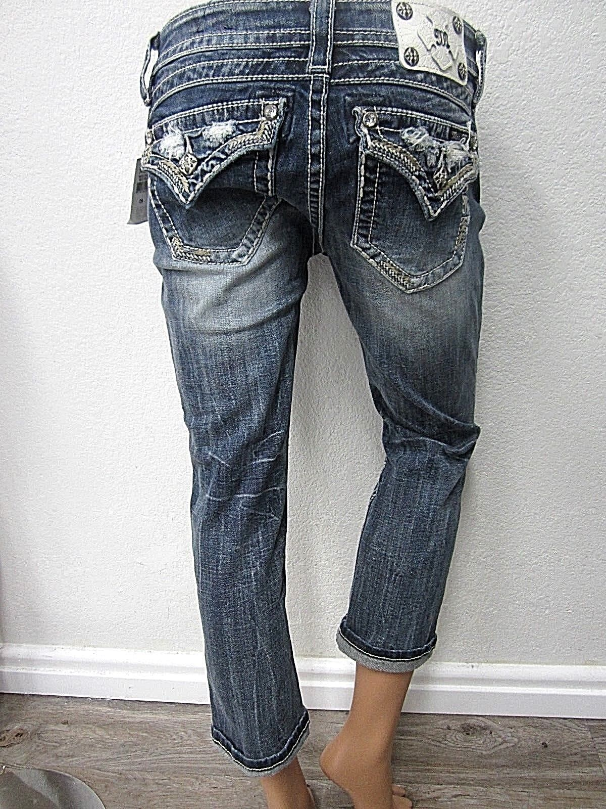 NWT  MISS ME EMBELLISHED Standard Cropped Jeans ME8518C3 sz 26 X 23
