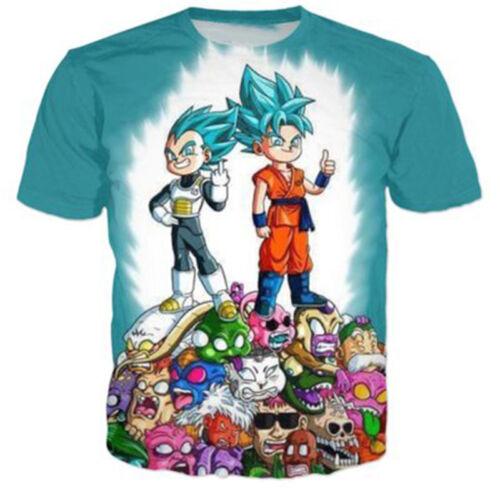 Nouveaux Hommes Femmes 3D T-Shirt Anime Dragon Ball Imprimé Décontracté Manches Courtes Tee S-5XL
