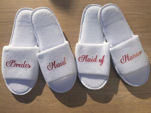 Personalised wedding bride bridesmaid bridal hen party spa slippers