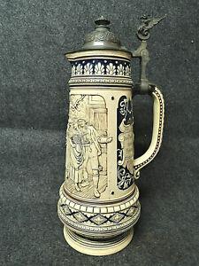 Alter Antiker Bierkrug Großer 40 cm  Schnabel Trink Maß Krug Schnabel Zinndeckel