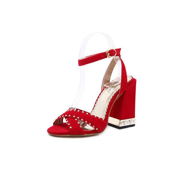 Decolte eleganti 11 cm eleganti Decolte comodi rosso tacco quadrato  sandali simil pelle 9934 cbc699