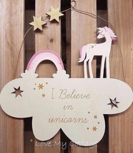 Hanging Unicorn Sign on a Cloud Rainbow Bedroom Door Decoration Xmas Gift Idea