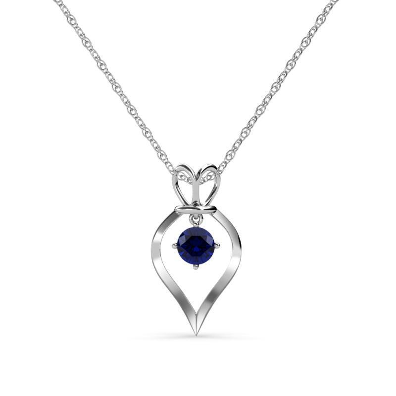 bluee Sapphire Royal Heart Pendant 0.53 ct 14K gold with 18 Inches 14K Rope Chain