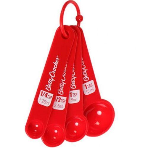 RED BETTY CROCKER 8 PIECE PLASTIC MEASURING CUP /& SPOON SET US SELLER FREE S/&H