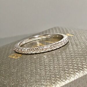 SOLD-OUT-BONY-LEVY-18-K-WHITE-GOLD-PAVE-DIAMOND-STACKABLE-BAND-RING-SIZE-7
