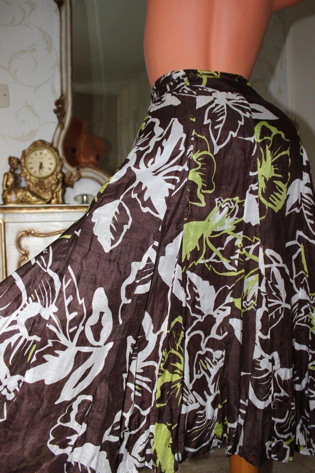 (Ref 25)  COAST Brown Mix Cotton & Silk Mix Ladies A Line Paneled Skirt Size 14
