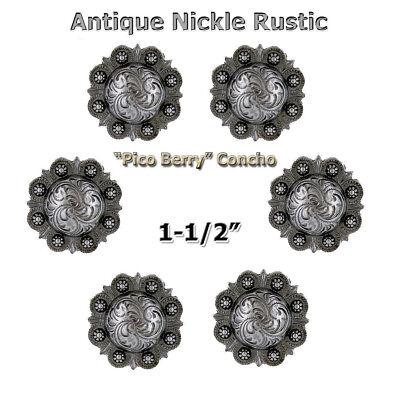 1 1//2 INCH ROUND  ANTIQUE COPPER BERRY CONCHOS