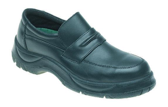 Talla UK 8 Himalayan para hombre Negro Cuero Calzado De Trabajo De Seguridad Slip On Puntera De Acero