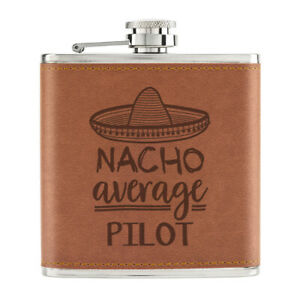 Nacho-Moyenne-Pilote-170ml-Cuir-PU-Hip-Flasque-Fauve-Worlds-Best-Drole-Awesome