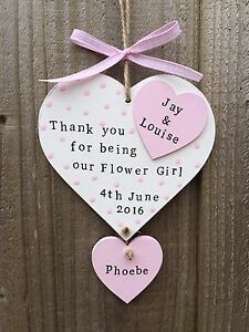 Image Is Loading Personalised Wooden Plaque Sign Heart Wedding Bridesmaid Thank