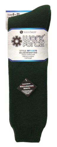 2 Pack Mens Over the Calf Thick Wool Rubber Rain Boot Work Socks Workforce
