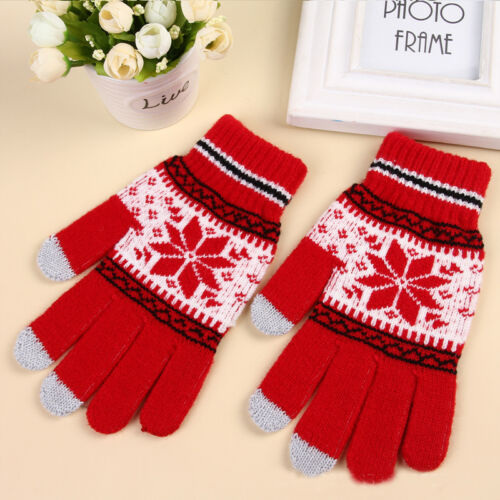 Women Gloves Touch Screen Gloves Outdoor Fun Sports Knitted Snowflake Gloves