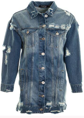 Women's Mid Blue Ripped Distressed  Denim Jacket Extra Longline Denim Cotton Jac