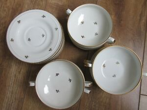 Details About Stunning Set Of 6 Limoges French Coffee Bowls And Saucers