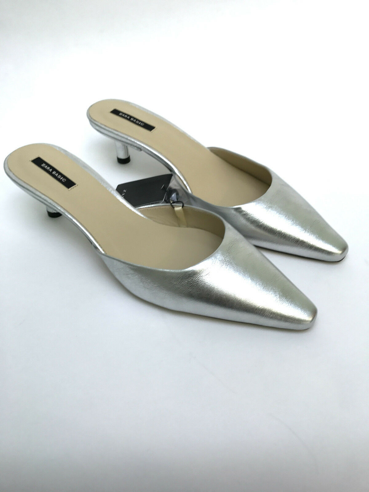 ZARA Silber LEATHER POINTED SLINGBACK MID HEEL MULES schuhe UK 6 3 4 5 6 UK NEW BOXED b2be5c