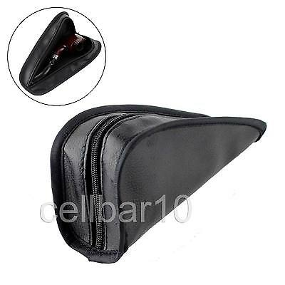 Black Leather Travel Single Smoking Pipe Case Holder Pouch Bag Triangle Style