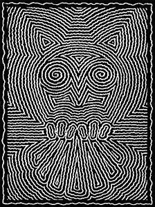 PAINTING DRAWING DESIGN BLACK WHITE OWL SHAKY LINES ART PRINT POSTER MP3709A