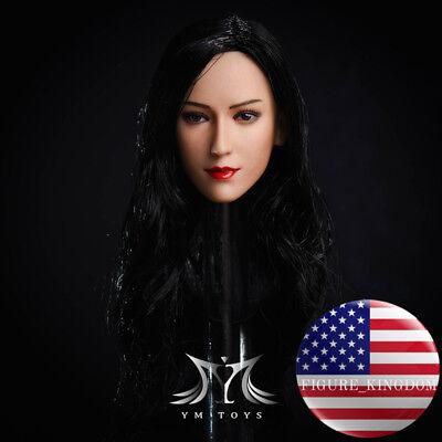 1//6 Ada Wong Female Head Sculpt LONG BLACK HAIR For 12/'/' SUNTAN PHICEN Figure