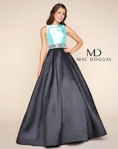 NWT-MacDuggal-65836H-Mint-Black-size-2-jeweled-long-formal-prom-gown-Mikado
