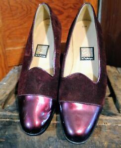 a42c2995f4 Nina Women's Wine Velvet Almond Toe Low Block Heel Formal Pumps ...