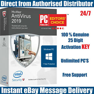 McAfee-Antivirus-2019-Unlimited-PC-039-s-for-1-Year-KEY-Instant-eBay-Message