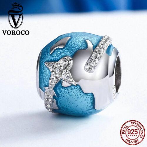 Voroco Travel the World 925 Argent Sterling Bead Charme pour FASHION GIRL Bracelet