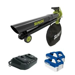 Sun Joe Blower Vacuum Mulcher Kit 163 MPH 48-Volt Cordless Batteries Charger