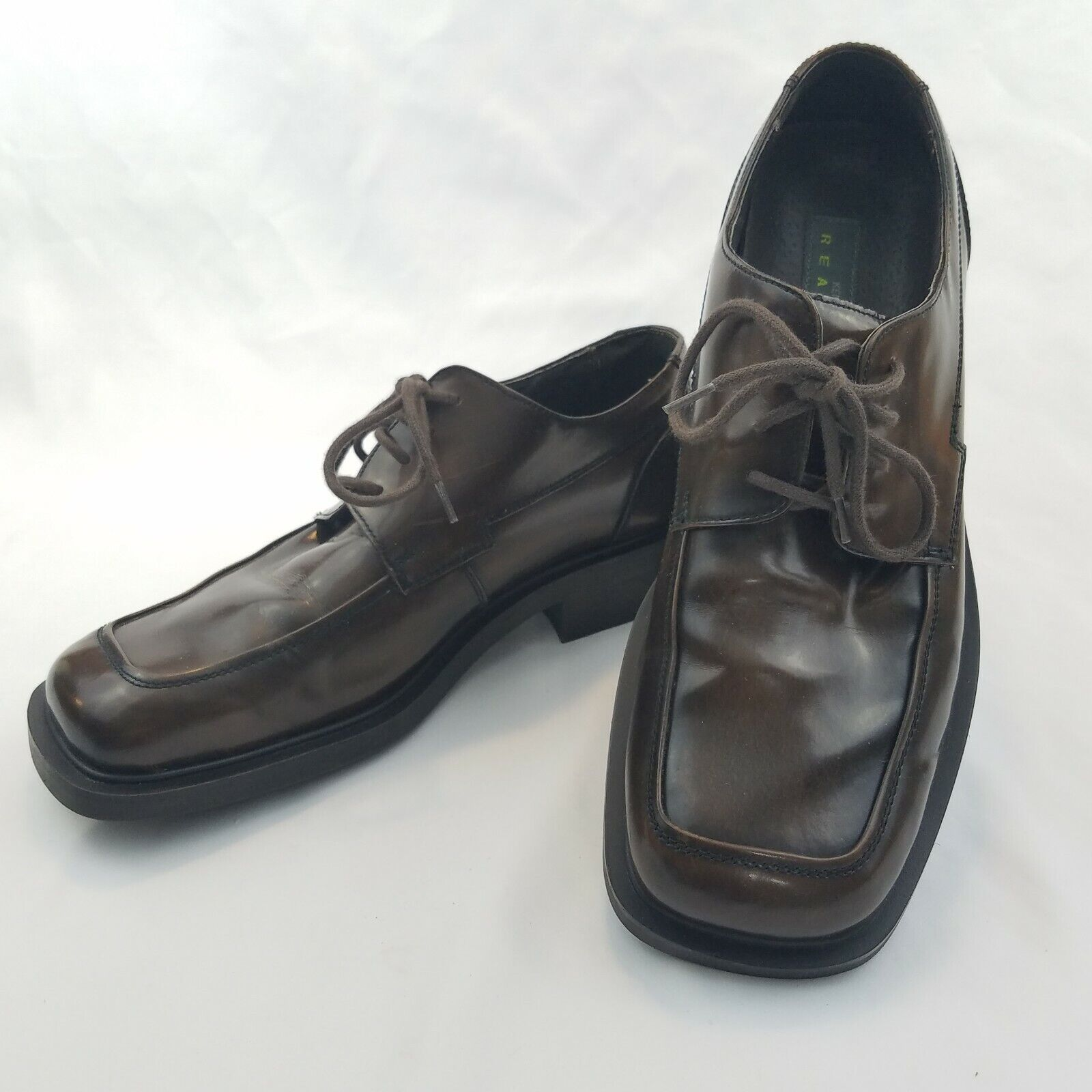 NEW Kenneth Cole Reaction Mens Brown Leather Square Toe Oxford Dress Shoes US 11