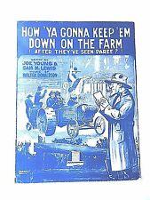 "Vintage ""How 'Ya Gonna keep 'em Down On The Farm"" Sheet Music Dated 1919"