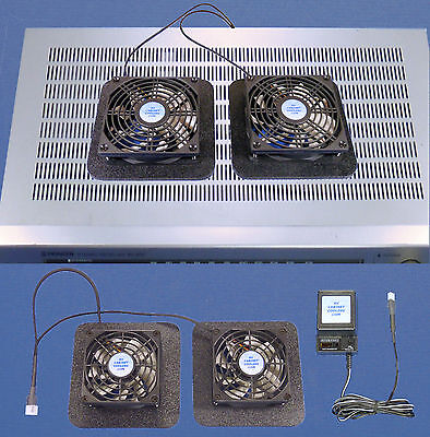 Receiver/Amplifier dual-cooling fans with enlarged bases & multi-speed control